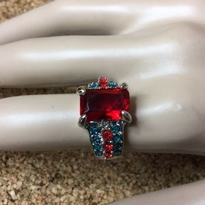 Jewelry - Red Blue Statement Ring Size 9